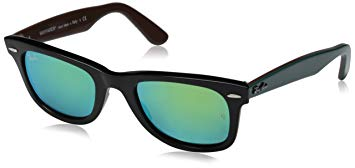 Ray-Ban WAYFARER - BLACK Frame GREY MIRROR GREEN Lenses 50mm Non-Polarized
