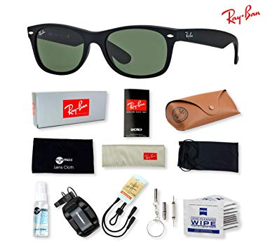 Ray-Ban RB2132 New Wayfarer Sunglasses with Deluxe Eyewear Accessories Bundle